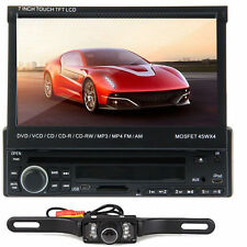 "7"" Single 1 Din In Dash Car Stereo Radio DVD Player Bluetooth Touch E2 CD+Camera"