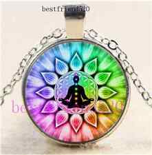 Flower of Life chakras Cabochon Glass Silver Chain Pendant Necklace#Y22