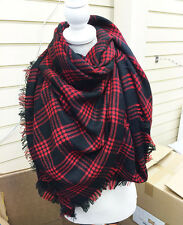 Ladies Fashion Tartan designer scarf scarves wrap  fashion blogger Black Red Tas