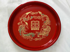 2 CHINESE RED XL DRAGON PHOENIX HAPPY SERVING TRAY PLATE NEW YEAR PARTY JAPANESE