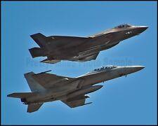 1st USN F-35C Lightning VFA-101 F/A-18 Hornet Near Eglin 2013 8x10 Photo