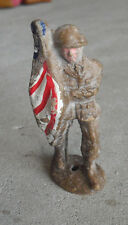 """Vintage 1940s Composition Toy Soldier Holding US Flag Figurine 3 1/4"""" Tall"""