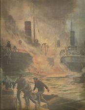 K0747 Incendio su nave del porto di Giurgevo in Romania - Stampa antica