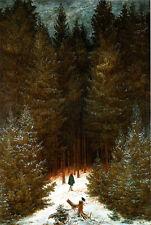 Der Chasseur im Walde Jäger Jagd Romantik Bütten Caspar David Friedrich A3 009