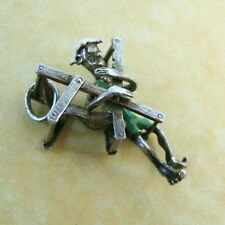 Rare Vintage English Silver NUVO Movable Charm Enamel Man Tangled in Beach Chair