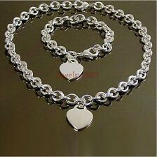 stainless steel silver oval chain with heart charm necklace bracelet womens set