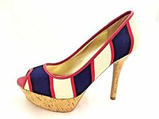 New Display Guess Pump By Marciano Tempest-M Multi Color Red/White/Blue Size 8