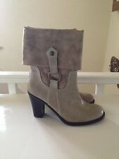 Cream / Beige  Ladies size 6 Heeled Ankle Boots by Gino Ventori .. NEW