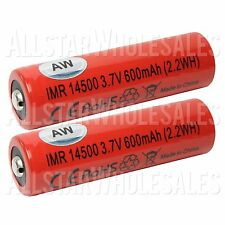 2x AW Battery *AUTHENTIC* IMR 14500 3.7V 600mAh Button Top Mechanical Mod