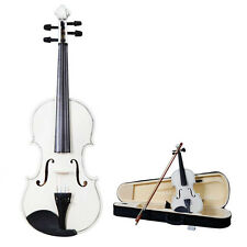 New Acoustic Violin 1/8 Size White + Case+ Bow + Rosin for Kids 4-5 Years Old