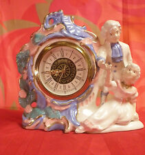 A Figural Porcelain Mantel Clock/ French Meissen Style/ Movement by W.Germany