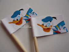 20 CUPCAKE FLAGS/TOPPERS - DONALD DUCK CHILDRENS BIRTHDAY PARTY