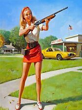 ART PRINT POSTER PAINTING DRAWING 1974 MINI SKIRT AND SHOTGUN NOFL0584