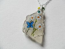 "Daisy and blue butterfly handpainted sea glass necklace - 18"" silver plate chain"