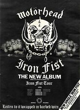 MOTORHEAD IRON FIST ALBUM ADVERT & DATES ADVERT 14X11""