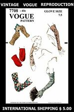 GLOVES GLOVE MITTS Material Fabric Sewing VOGUE #7708 GUANTES GUANTI Pattern 7.5