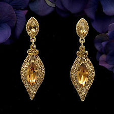 18K Gold Plated GP Topaz Crystal Rhinestone Drop Chandelier Dangle Earrings 6043
