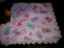 Pink Sock Monkeys crocheted flannel baby blanket, burp cloth,  0- 3 mth hat