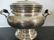 Stunning Antique Russian silver lidded sugar bowl with handles