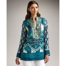 Tory Burch  Iveta Tunic Indigo Green Blue 6 Embellished Silk  $350 NWT