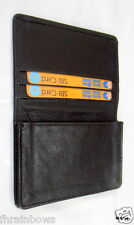 Genuine Cowhide Black Leather Expandable Business Credit Card Holder Wallet