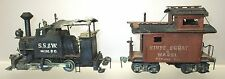 OLD BRASS 0-4-0 MINING TANK ENGINE PLUS WOOD CABOOSE HO SCALE-MOUSE MODIFIED!