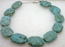 Turquoise Choker Necklace Handcrafted Simple Primitive Large Chunky Blue Stones