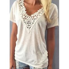 Juniors You You Tu~WHITE LACE BLOUSE size XL~NEW~V-Neck Top Dressy Knit Shirt