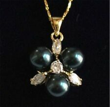 18K Gold Plated Rare 8mm Black South Sea Shell Pearl Crystal  Pendant