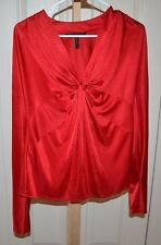 BCBG MAXAZRIA  RED L/S Holiday Christmas  BLOUSE TOP Size Small NWOT