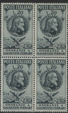 ITALY- 1950 FERRARI 20L IN BLOCK OF 4 MNH (SASS. 622)   (REF.B28)