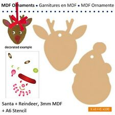 Reindeer & Father Christmas / santa Ornament making set 2 mdf  pieces + stencil