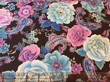 Purple Turquoise paisley and Floral   quilting fabric* bty  hard to find** bty