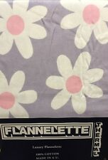 """DOUBLE BED FLANNELETTE FITTED SHEET 4 FT 6"""" FITTED 100% COTTON DAISY WHITE LILAC"""