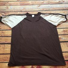 80s VTG THREE STRIPES Blank RAGLAN Jersey T Shirt Brown 2XL COLORBLOCK 50/50