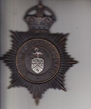 Obsolete Original Burnley Borough Police Helmet Night Plate Badge Kings Crown