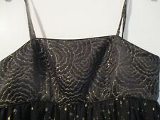 """Silk/Wool/Cotton extremely short  3 layer Black/Gold Empire dress size 12.""""Fab!"""""""