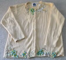 """Lovely Storybook Knits Light Yellow Womens Cardigan Sweater """"Feasting"""" Size 1X"""