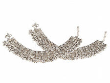 2pcs SILVER OXIDIZE KUNDAN BRIDAL BOLLYWOOD BELLYDANCE BROAD ANKLET PAYAL-DIWALI