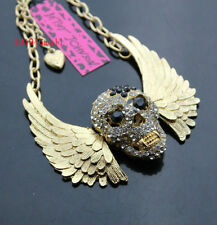 B663G  Betsey Johnson  Gold Tone w/Crystal Angel Wings Skull Pendant Necklace