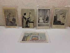 Rare Antique Lot/5 Post Cards Won't You Spoon With Me Weather Forecast-Very Mild