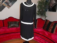 CHAPS RALPH LAUREN WOMAN NEW BLACK/WHITE COCKTAIL DRESS SZ XL MSRP $100