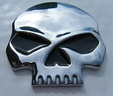 SKULL CHROME METAL CAR BADGE/ EMBLEM 70MM SELF ADHESIVE BRAND NEW