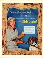 1952 Old Gold Cigarettes Woman Hunter with dog shotgun PRINT AD