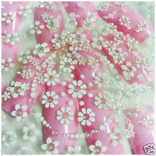 6 Sheets of 3D Nail Art Stickers Self Adhesive White Crystal Flowers SWJ