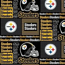 NFL Football Pittsburgh Steelers Squares 18x29 Cotton Fabric Fat Quarter