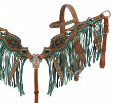 Showman Feather TEAL GREEN Fringe Headstall & Breast Collar Set! HORSE TACK!