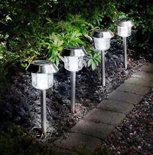 Solar Powered White Colour Stake Solar Lights 5pk, Garden Stainless Steel