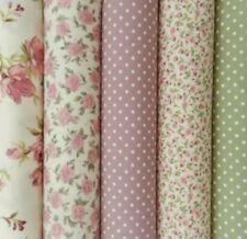 Rose & Hubble Vintage 5 Half Meter Bundle Pink Floral Polka Dots Cotton Poplin