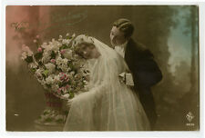 1910s French glamour glamor YOUNG BRIDE BEAUTY Wedding Marriage photo postcard